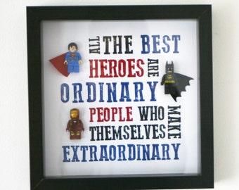 lego dc marvel batman superman ironman spiderman hulk wolverine frame kids wall frame, birthday, christmas boyfriend dad brother present