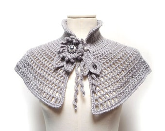 Crochet Silver Grey Capelet with Flowers and Pearls - Grey Neckwarmer, Cape, Shoulderette - Bridal Wrap - SILVER FLOWER