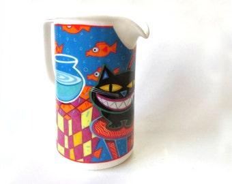 Vintage, Home Decor, Pitcher, Vase,  by Chaleur, Serving, Cheshire, Cat, French pitcher, Drink ware, Drinking Set, Milk jug, ByHeart
