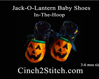 Jack-O-Lantern Halloween Baby Shoes - In The Hoop - Machine Embroidery Design Download - (3-6 month size)