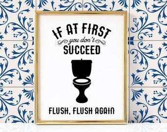 Flush Again Bathroom Printable | Funny Bathroom Print | Bathroom Print | Bathroom Printable | Bathroom Wall Art | Bathroom Decor |