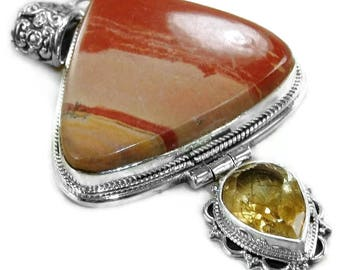 Jasper and Citrine Sterling Silver Pendant