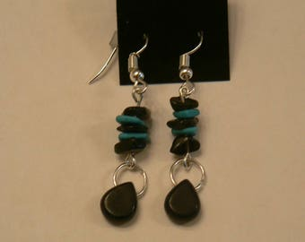 Onyx and Turquoise Drop Earrings