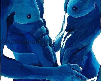 gay art, Original painting, blue, hug, male underwear, erotic
