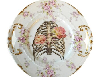 Vintage - Illustrated - Skeleton Ribcage Plate - Wall Display - Altered Plate - Antique - Upcycled - Day of the Dead - Goth - Home Decor