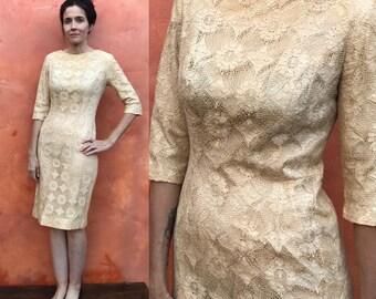 Vintage Bombshell 1950s 1960s Ivory Lace wiggle Dress. Claralura Original