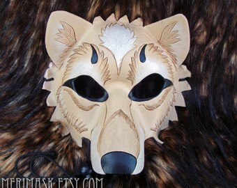 MADE TO ORDER Cream and White Leather Wolf Mask... masquerade costume mardi gras halloween burning man splicer