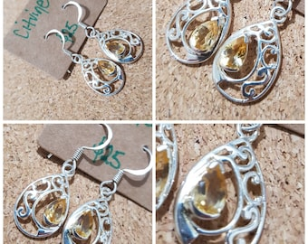 Citrine 925 Sterling Silver Earrings