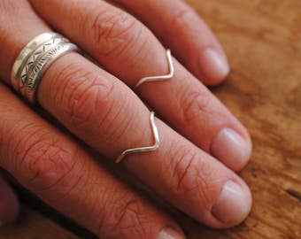 Chevron Midi Ring | Sterling Silver | Stacker Ring