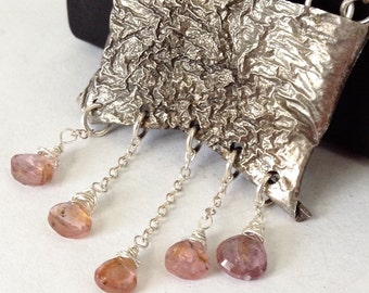 Reticulated Silver and Spinel Necklace