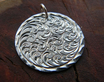 Hand Engraved Sterling Silver Scroll Pendant