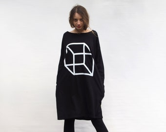 Tricot Dress With Pockets and Geometric Print Black women's clothing T shirt dress Organic Cotton