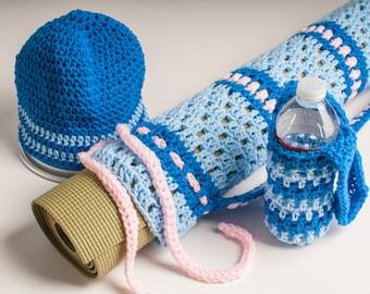 Yoga Mat Bag, Baby Blue, Blue, and Baby Pink - Open Crochet Original HH Design