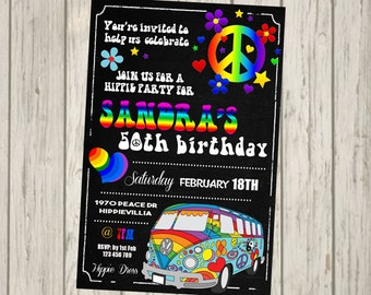 HIPPIE Invitation 18th 21st 30th 40th 50th 60th 70's 60's Peace 1970 1960 Adult Bithday Party Birthday Invite personalised invitation