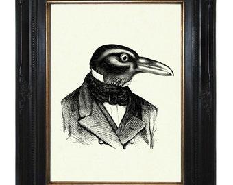 Halloween Raven Art Print Steampunk Crow Gentleman Bird Portrait - Victorian Steampunk Art Print Edgar Allen Poe