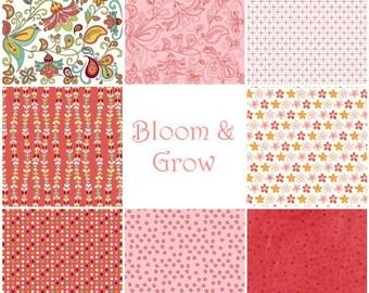 Bloom Grow by My Mind's Eye for Riley Blake Designs - 1\/2 Yard Set Pink\/Cayenne