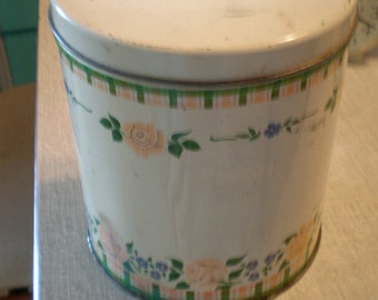 Vintage Rose Tin, MCM, Farmhouse, Rustic, Floral Tin, Shabby Chic, Romantic, Pink Kitchen