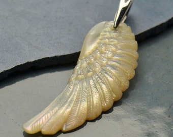 Hand Carved Mother of Pearl Angel Wing Necklace - Sterling Silver Pendant - Insurance Included