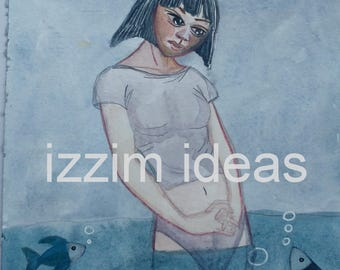 Original watercolour hand painted illustration - fish girl