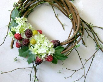 Summer Wreath, French Country Cottage, White Hydrangea Wreath, Petite Indoor Wreath, Shabby Cottage Decor, Raspberry Wreath