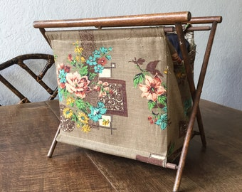 vintage knitting work holder carrier basket made of wooden structure and antique printed fabric needlework wool ball bag lady tool boudoir