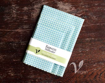 Vegan Wax Wrap Value Pack in blue gingham - beeswax free / plastic free / zero waste / soy wax wrap / sustainable / sandwich wrap