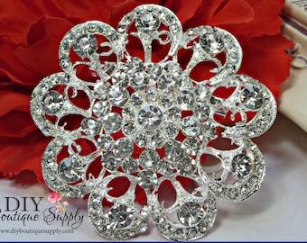 Large Rhinestone Brooch Pin - Big Crystal Brooch - Bridal Wedding Rhinestone Brooch - Rhinestone Brooch for Cake Sash or Bouquet 65mm 940175
