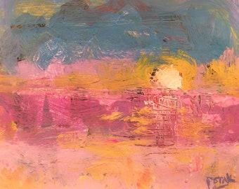 Blue  and orange Aegean Seascape painting,  setting sun,  Russ Potak Artist