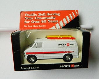 Vintage Pacific Bell Die Cast Metal Replica Service Van Limited Edition, New in Box, AT&T, Retirement Gift Party, 1997