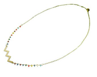 Golden colored necklace, beaded chain, minimalist necklace