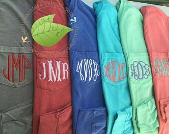 Long Sleeve Comfort Colors 4410, Long Sleeve Pocket Tee, Monogrammed Long sleeve, Monogrammed Comfort Colors, Pocket Tee