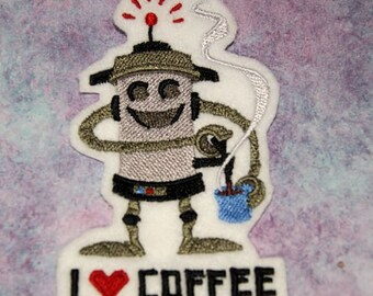 I Love Coffee Robot Iron On Embroidery Patch MTCoffinz