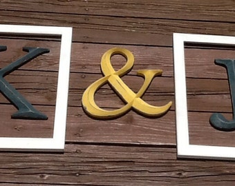 Large Wall Initials Framed With Ampersand Shabby Chic Distressed Letters and Frames