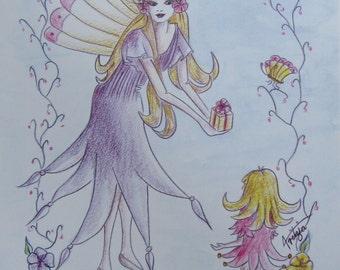 Tritzia Fairy Gift Illustration in Watercolour Pencil