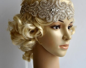 Crystal Rhinestone flapper Gatsby Headband, Wedding bridal Headband Headpiece hair Piece, Halo Bridal Headpiece, 1920s Flapper headband