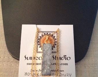14K Gold Filled Light Gray Druzy Tassel Necklace/Gift/Present/Trending/Fashion/Pendant