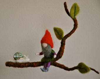 Children Mobile Waldorf inspired needle felted : Gnome and snail in a branch