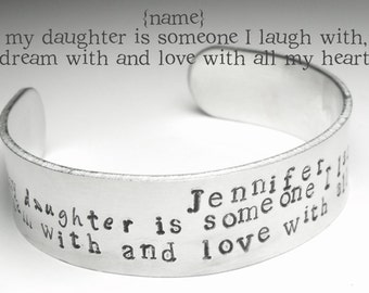 Daughter Bracelet, Daughter Cuff, Personalised Cuff Bracelet, Gift For Daughter, Bracelet for Daughter, Hand Stamped, Xmas