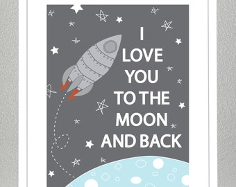 Rocketship, Love you to the moon and back- 11x14
