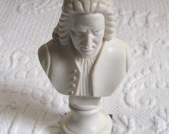 bust . carved resin bust . Bach Bust . musician bust . composer bust . Johann Sebastian Bach