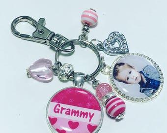 Grammy photo keychain, Grammy photo keyring, Gift for Grammy, Grammy christmas gift, Personalized grammy keychain, Mothers Day gift
