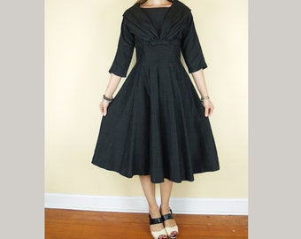 Vintage Gray Classic 1950s Dress // vintage 50s 60s party dress // bow at waist