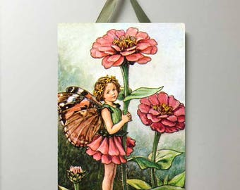 Pink Flower Fairy Vintage Board, Fairy Art, Fairy Decor, Flower Fairies, Fairy Wall Decor.