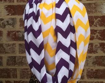 Purple and yellow Chevron Infinity scarf gift idea, Tigers scarf, chevron scarf, football scarf gameday scarf girls gameday
