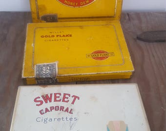 Vintage Tobacco Tins 3 Hinged Collection Cigarette Flat 50 Will's Gold Flake Honey Dew Imperial w Custom Labels and Sweet Caporal Tobacciana