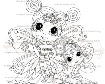 INSTANT DOWNLOAD digitale Digi Stamps Big Eye Big hoofd poppen Digi twee Wee gevleugelde Ones Cuties Besties door Sherri Baldy