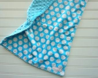 Aqua Dots Minky Lovey, Gender Neutral Baby Lovey Blanket, Security Blanket, Gender Neutral Shower Gift, Soft Newborn Blanket