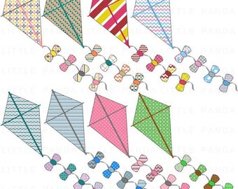 60% OFF SALE Flying Kite Clip Art, Digital Clipart, Personal and Commercial Use - Instant Download - D425