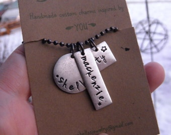 Custom Name Charm Necklace, Mothers Necklace