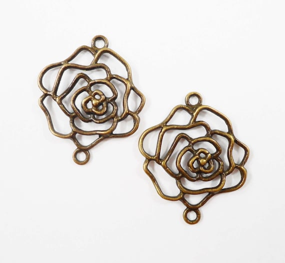 Flower Connector Pendants 36x30mm Large Bronze Rose Connector Charms, Antique Brass Connector Findings, Jewelry Findings Craft Supplies 6pcs